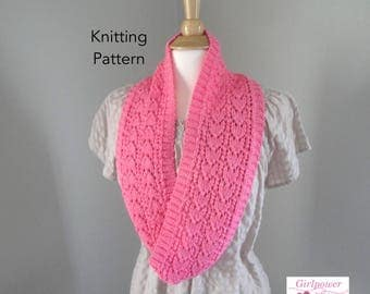 Heart Lace Cowl Scarf Knitting Pattern, Infinity Eternity Loop Scarf, Mock Ribbing, Lace Pattern DK Light Worsted Yarn