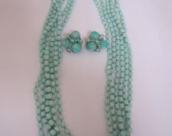 Aquamarine Blue Costume Jewellery Vintage necklace and earrings set 1950s