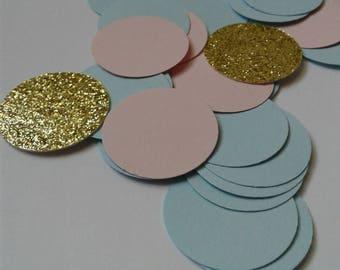 Circle confetti, gender reveal ideas, paper confetti, cardstock confetti, party decor, pink confetti, blue confetti, table decoration.