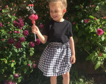 Skirt Valentine black and white gingham 2 to 6 years