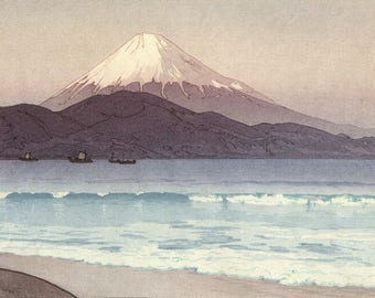 "Japanese Art Print ""Fujiyama from Miho"" Yoshida Hiroshi, woodblock print reproduction, Japan, cultural art, landscape, oceanside, Fuji"