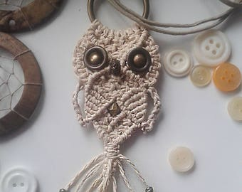 Macrame Owl Necklace, Pendant, Textile Jewelry, Women, Cute Pendant Necklace, Adjustable, Gifts Under 15, Macrame Jewelry, macrame