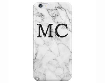 Personalised Glitter initials White Marble Phone Case Cover for Apple iPhone 5 6 6s 7 8 Plus & Samsung Galaxy Customized Monogram
