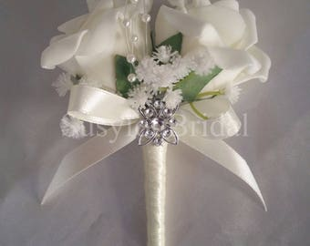 Wedding Bridal Double Pin On Corsage Buttonhole Pearls Gypsophila Various Colours