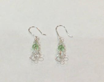 Green crystal wire wrapped earrings