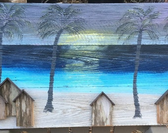 Wood Art relief sunset palms