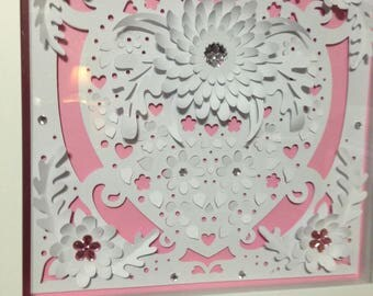 12x12 Shadow Box Paper Sculpture Heart White /w Pink Background