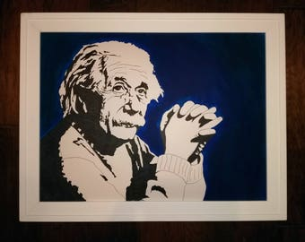 Original Einstein Acrylic and Pen & Ink Portrait
