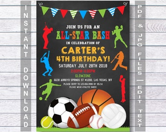 Sports Birthday Invitation, Sport Party Invite, Sports Invitation, Sports Birthday Party, boys sports invitations, Instant Download,  boys