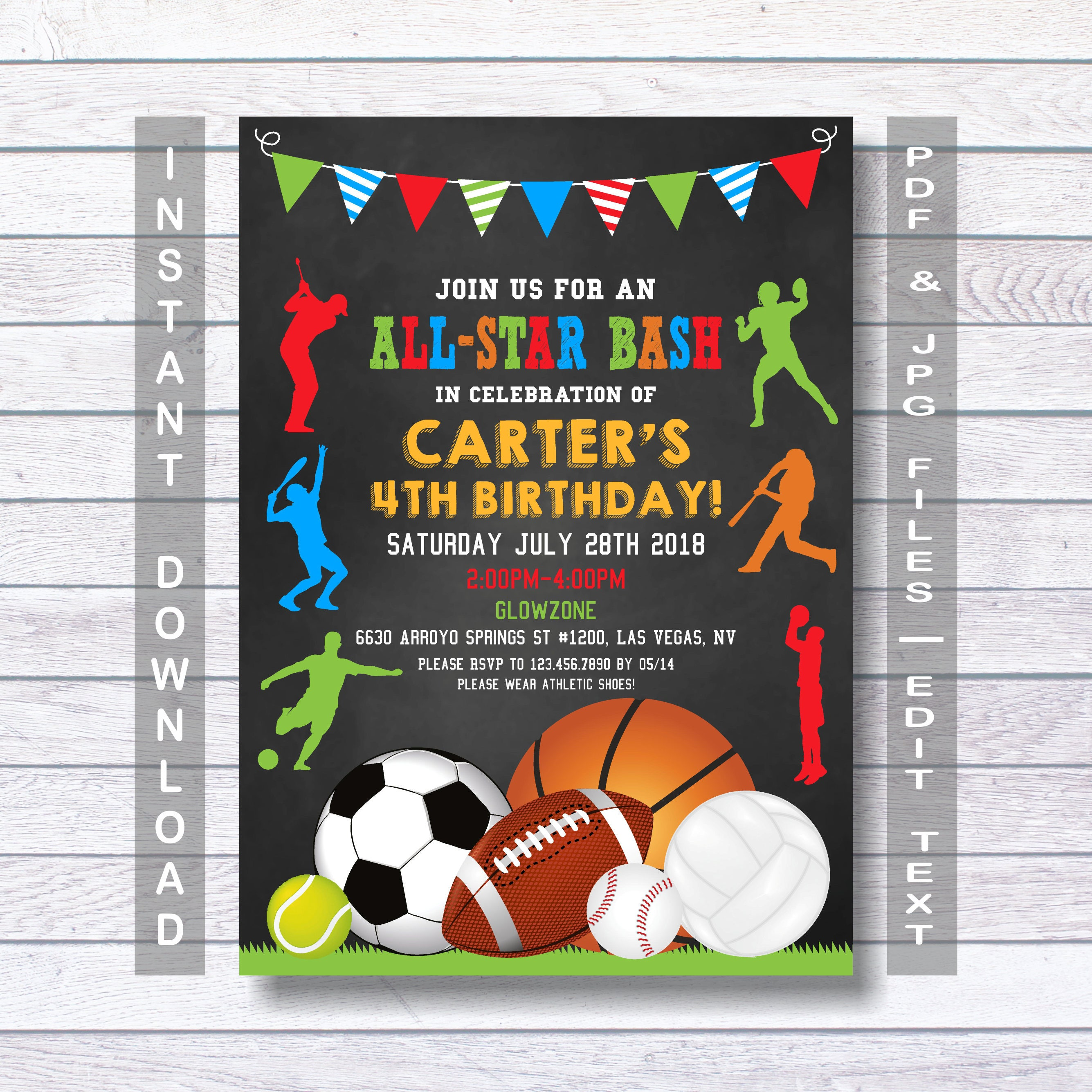Sports Birthday Invitation Sport Party Invite Sports – Sport Birthday Invitations