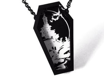 Dead by Dawn Coffin Necklace