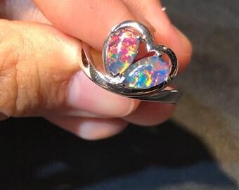 14k white gold  Opal Triplet Ring