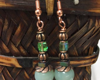 light green glass beads and green crystal copper dangle earrings