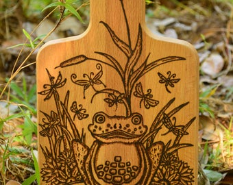 Wood Burned Cutting Board-Frog On A Lilly Pad