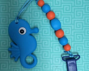 Blue seahorse teether toy