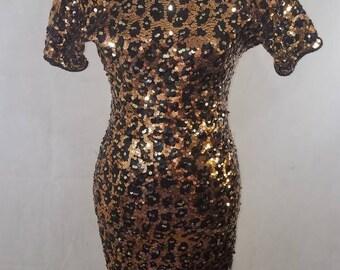 SALE * Vintage leopard print sequin dress
