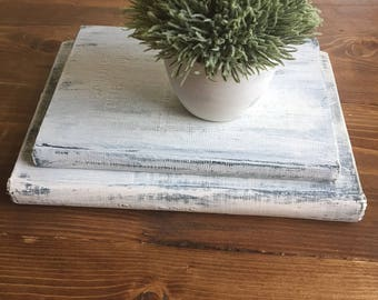 Set of 2 Painted/Distressed Vintage Books