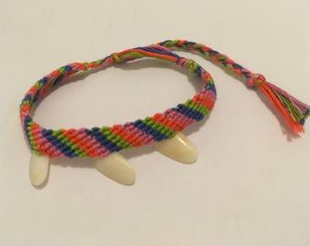 Adjustable Woven Bracelet with Shells