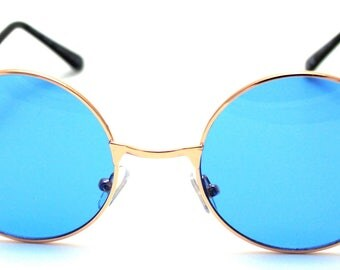 Gold Frame Blue Circular Oval Round Vintage Retro Sunglasses