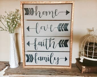 Home Love Faith Family Sign