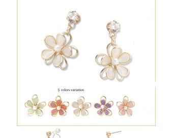 Handmade Flower Pearl Earrings