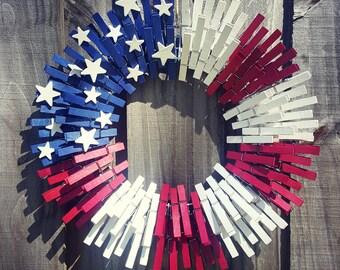 American Flag Clothespin Wreath