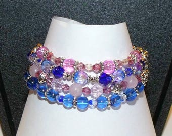 Blue and Pink Multi Strand Braclet