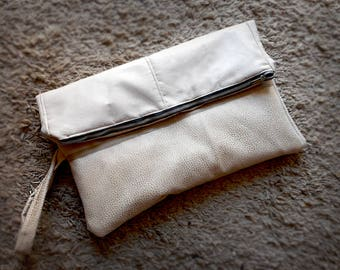 Clutch, faux leather, Ivory white