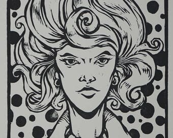 "Limited Edition Woodcut Print ""Jane"""