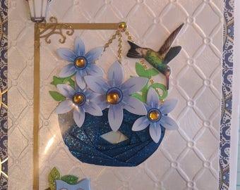 Iris Folding Flower Basket Greeting Card