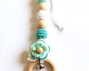 Crochet teething toy, baby teether, crochet teether, baby gym toys, teething ring, wooden pendant, wooden baby toy, baby shower gift