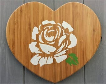 Wooden Heart - Rose - White - Nursery Wall Art - Baby Shower Kids Gift - Wood Wall Art Decor