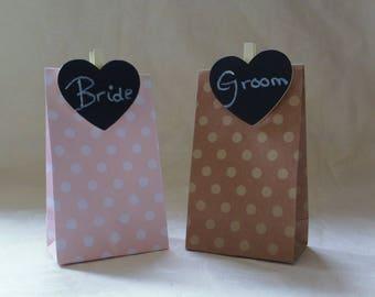 Adorable paper bag wedding favour/place holder