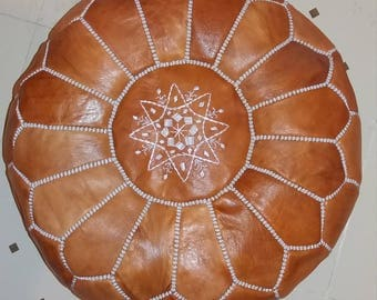 Genuine moroccan leather pouf, moroccan leather pouf, leather pouf, ottoman, poufs, leather footstool, moroccan seat