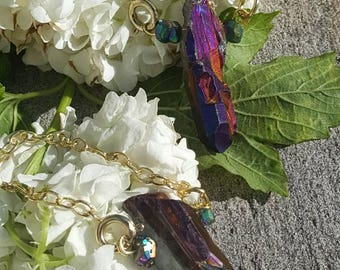 Purple crystal earweights chain gauges plugs magic