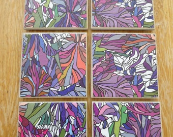 Set of 6 tile coasters, multicoloured leaves