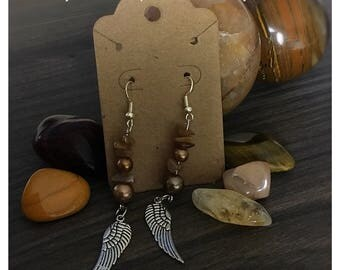 Tigers eye and angel wing drop earrings