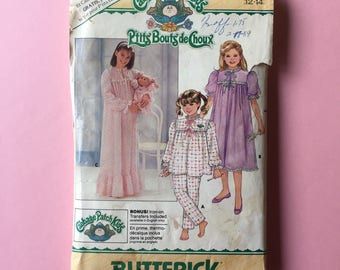 Vintage Pattern - Butterick 3436 Cabbage Patch Kids Children's/Girls' Nightgown, Top, Pants & Transfers