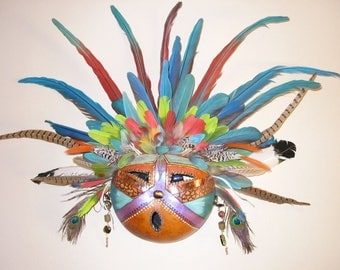 The Best Dressed feather Warrior Gourd Mask
