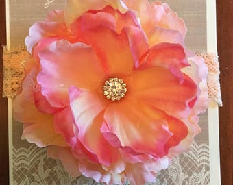 Pink and Peach Flower Lace Headband with Gemstone Embellishment