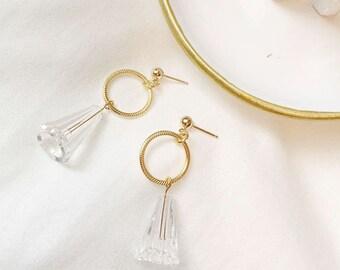 14kt Gold Elegant Earrings, Dangle Earring, Swarovski Crystal Earring, stud earrings, Wedding earrings, Bridesmaid Earrings, Gold Earrings