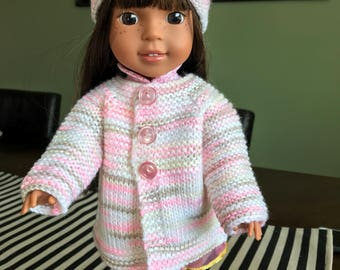 Hand-knit Sweater and cap for WellieWishers Doll