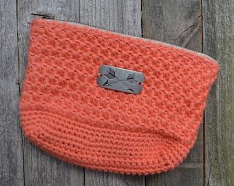 Coral Star Stitch Crochet Pouch