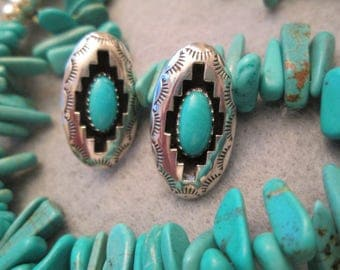 SALE>>>Gorgeous Navajo Handcrafted Genuine Turquoise & Sterling Silver SHADOWBOX Earrings>> Pierced posts> Excellent condition