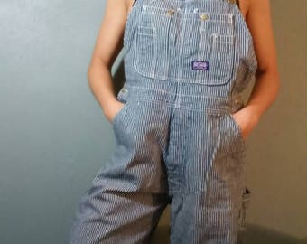 Blue and White Pinstriped Denim Overalls