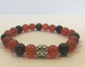 Men's Amber and Black w/ Silver Accent Bead Bracelet