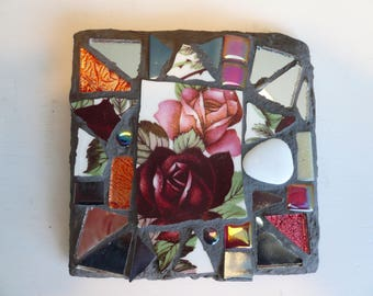 Mosaic, square, slate coaster.