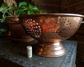"Vintage Copper Colandar Large 12"" Aged Antique Brass Portuguese"