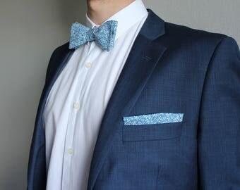 Garden Party adjustable self-tie floral bowtie and pocket square