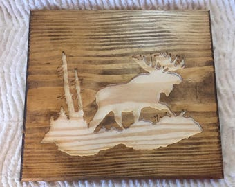Moose Inlay Wall Carving